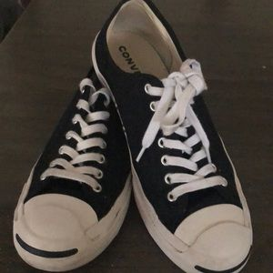 Black Converse- Jack Purcell- 8 mens or 10 womens